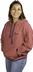 Women's red stripe pull-over hoodie - Front